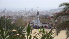 ULTRA HD 4K Aerial view Barcelona cityscape blurry panorama unfocused rooftop Stock Footage