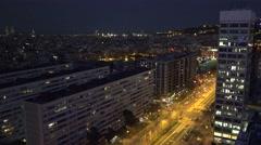 ULTRA HD 4K Aerial view Barcelona cityscape twilight traffic street busy avenue  Stock Footage