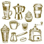 Doodle coffee images Stock Illustration