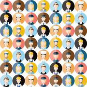 Stock Illustration of people head seamless pattern