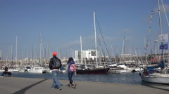ULTRA HD 4K Old port luxury yacht Barcelona bay Barceloneta famous city tourism  Stock Footage