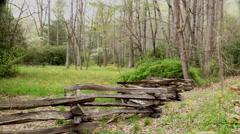 Slow pan split rail fence spring flowers Stock Footage