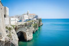 Church in front of adriatic sea in the Vieste Italy Stock Photos