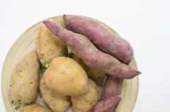 potato sweet potato food raw preparation concept - stock photo