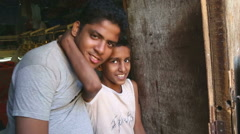 Portrait of two Indian boys. Stock Footage