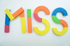 Miss word colorful english passion concept Stock Photos