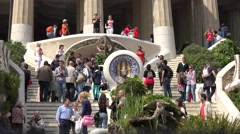ULTRA HD 4K Famous entrance Park Guell tourist people enjoy Barcelona icon day   Stock Footage