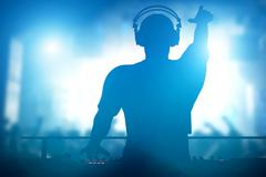 Club, disco DJ playing and mixing music for people. Nightlife - stock illustration