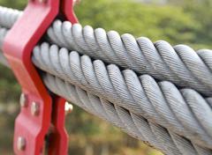 The closeup of bundle cables on suspension bridge Stock Photos