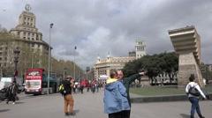 ULTRA HD 4K Tourist people visit Catalonia Square Barcelona Plaza Catalunya day  Stock Footage