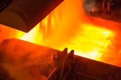 Industry steel, Hot slab are rolling in Mill. - stock photo