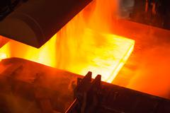 Industry steel, Hot slab are rolling in Mill. Stock Photos