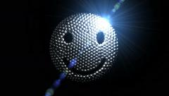 4K - Happy face coalescing from chrome spheres, 3D animation Stock Footage