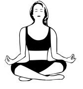 Meditating girl in cartoon style Stock Illustration