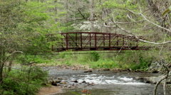 Red bridge over river spring mountain flowers 1 Stock Footage