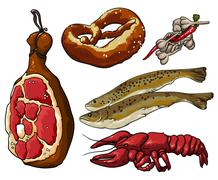set of beer snack - stock illustration