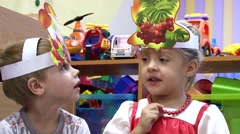 Kids at the autumn festival in the kindergarten, Close-up - stock footage