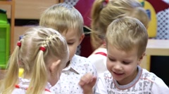Children's activity in a playschool, Close-up Stock Footage