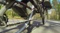 Feet of  cyclist twist  chain. POV clip in spring day Footage