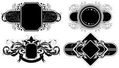 set of ornamental elements - stock illustration