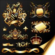 set of ornamental golden heraldic elements - stock illustration