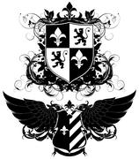 set of ornamental heraldic shields - stock illustration