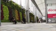 Plants in an office building workers walk down the corridor Stock Footage