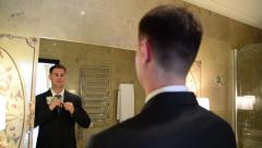 Reflection of a man in the mirror Stock Footage