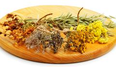 Herbs, calendula flower, oats, immortelle flower, tansy herb isolated - stock photo