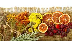 Calendula flower, oats, immortelle flower, tansy herb, honey, wild rose, drie - stock photo