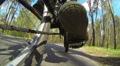 cyclist does turn. POV bottom  view HD Footage