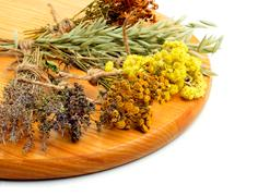 Herbs, calendula flower, oats, immortelle flower, tansy herb isolated Stock Photos