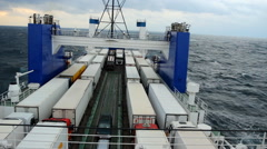 Big cargo ferry during a storm Stock Footage