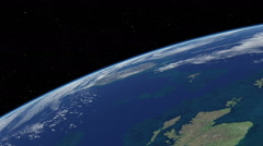 Orbital flyover of Great Britain  Stock Footage