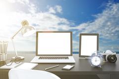 Stock Illustration of 3D illustration laptop on table, Workspace on nature outdoor