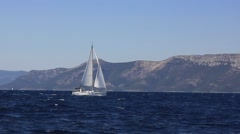 A sailboat on the horizon in the beautiful croatia - stock footage