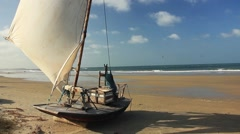 Wooden boat on brazilian shore Stock Footage