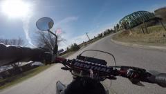 4k pov motorcycle riding beautiful corners and bridge Stock Footage