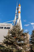 "Real ""Soyuz"" type rocket as monument - stock photo"