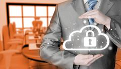 Protect cloud information data concept. Security and safety of cloud computing Stock Illustration