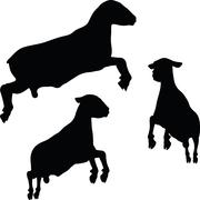 Sheep silhouette with jumping pose Stock Illustration