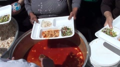 Serving chicken goulash soup Stock Footage