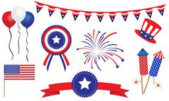 American United States 4th of July Design Elements Stock Illustration