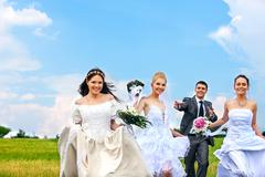 Group bride and groom summer outdoor Stock Photos
