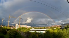 Double rainbow over the city Stock Footage