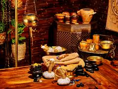 Ayurvedic spa massage still life Stock Photos