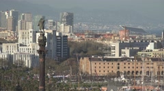 ULTRA HD 4K Aerial view Columbus statue Barcelona cityscape port Vell attraction Stock Footage