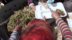 Serving salad and Turkish rice pilaf Stock Footage