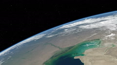 Orbital flyover of the Caspian Sea Stock Footage