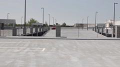 Empty Top Level Parking Garage Stock Footage